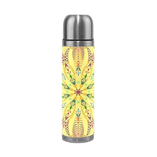 TIZORAX gelb Mandala Hippie doppelwandige Vakuum Cup Isolierte Edelstahl-Flasche Travel Becher Thermos Kaffee Tasse 17Oz