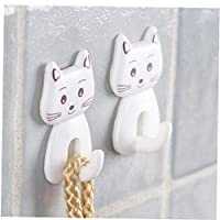 3pcs Self Adhesive Wall Decor Hooks Cute Cartoon Cat Door Hooks Durable for Kitchen Spoon Sundries Hanger Bathroon