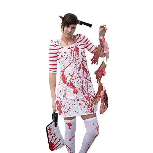 (Oblique Unique® Horror Kostüm Accessoire Set für Damen - Messer im Kopf Haarreif + Metzger Schürze + Overknee Strümpfe + Blutige Füße & Hände Girlande Halloween Fasching Karneval)