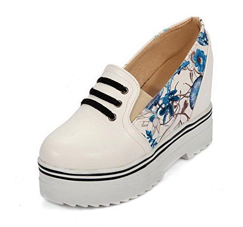 VogueZone009 Damen Ziehen Auf Hoher Absatz Pu Leder Gemischte Farbe Rund Zehe Pumps Schuhe Blau