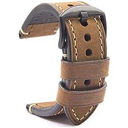 Bracelet Montre Noire Cuir Crazy Horse Men's Bracelet Classic Vintage Remplacement Panerai Bande Montre Applicable Sortes Accessoire 22mm Brun