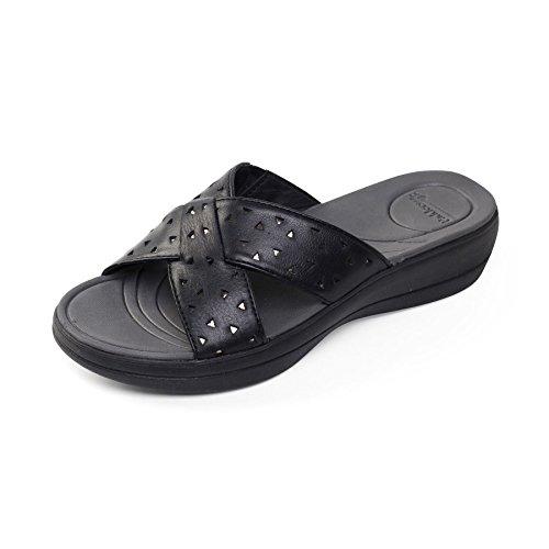 Padders donne di pelle sandalo 'Clara' | Extra grande larghezza di EE | calzascarpe libero Nero / Combi