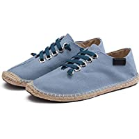 Men Flats Spring Summer Boats Shoes Hemp Canvas Sneakers Lace Up Breathable Espadrilles Fashion Casual Driving Shoes Light Blue
