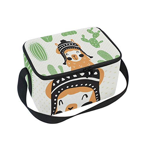 SKYDA Lunchpaket Box Insulated Lunchpaket Bag Large Cooler Llama In Sombrero Tote Bag for Men, Women, Girls, Boys (Sombrero Cooler)