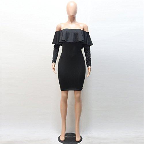 a Maniche Lunghe Spalle Scoperte Fondo a volant Mini Bodycon Aderente Fasciante Popover Vestito Abito Nero