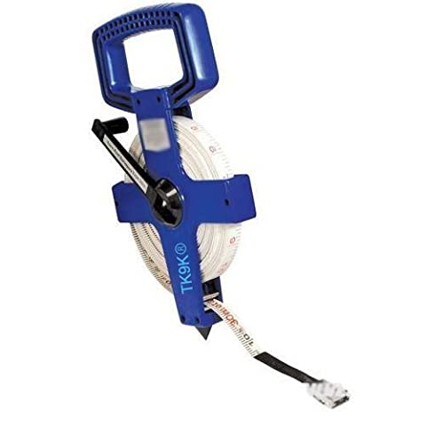 Measuring Long Tapes Open Reel Surveyors Tape 100 meter 100m Heavy duty fibre surveyors tapes with metric and imperial graduations. Strong plastic case with folding winding handle. by