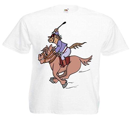 Motiv Fun T-Shirt Pferdjockey Cartoon Spass Kult Film Serie Motiv Nr. 10932 Weiß