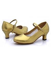 Ruanlei shoes Medio Talón Base Blanda Cuadrado Estándar Nacional, Oro, 41