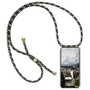 Caler Funda Compatible para iPhone 11 Pro MAX Carcasa Silicona Transparente Protector TPU Bumper Airbag +[Protector de Pantalla de Vidrio Templado] Colgante Collar Cordón Anti-rasguño(Amarillo Negro)