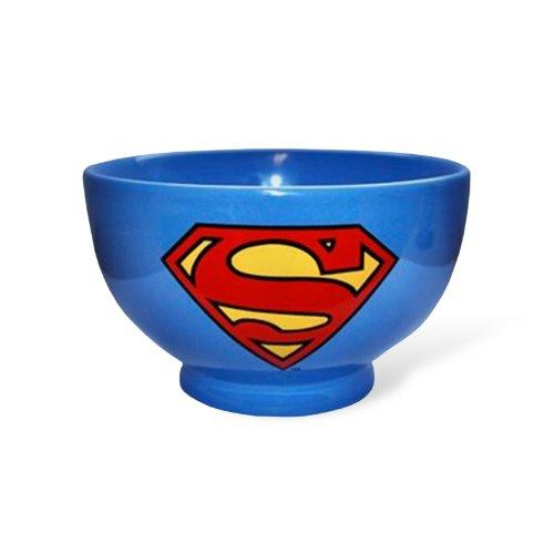 Superman - Ciotola per muesli della DC Comics con doppio motivo di Superman e del logo - Perfetto regalo per fan - Blu