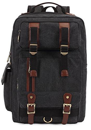 Rucksack Herren Damen Canvas Vintage KAUKKO Backpack Schulrucksack Vintage Laptoprucksack für Outdoor Camping Universität (Kaffee) Schwarz 261