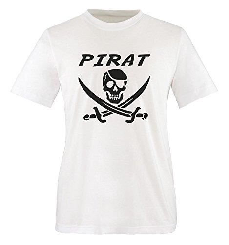 Comedy Shirts - PIRAT KOSTÜM -Herren T-Shirt in Weiss/Schwarz Gr. ()