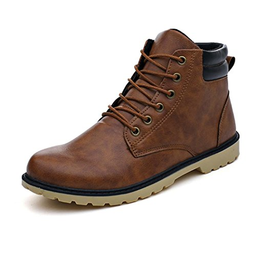 BESTOPPEN Mens Boots Black,Mens Low Heel Ankle Boots Winter Warm Leather Shoes Men Casual Lace Up Shoes Fashion Snow Boot Martin Shoes Outdoor Boots Size 6-8.5 (UK:8.5, Yellow)