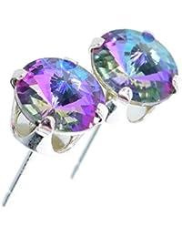pewterhooter. Pendientes de plata de ley 925 hechos con cristal Starlight brillante de SWAROVSKI® para mujer.