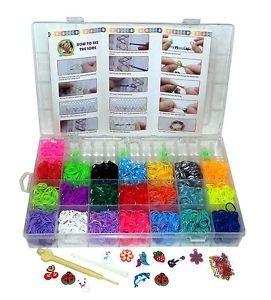 XXL Loom Starter Kit Set Bänder Bandz Gummibänder mit Charms Anhänger Webrahmen Haken