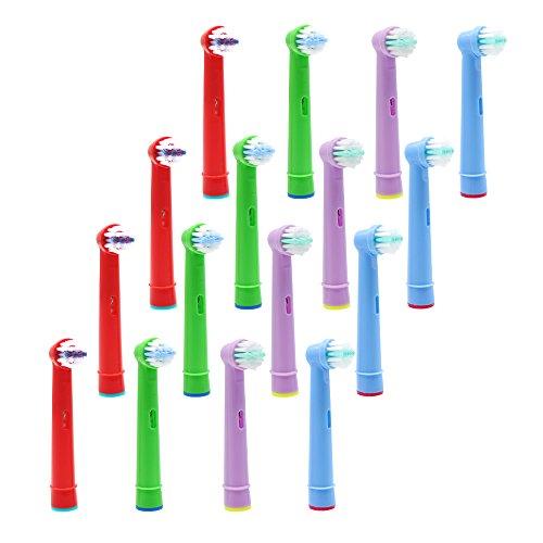 Sensitiv Aufsteckbürsten für Oral B Kinder Zahnbürste Aufsätze, 16er-Pack Mini Bürstenköpfe Ersatzbürsten