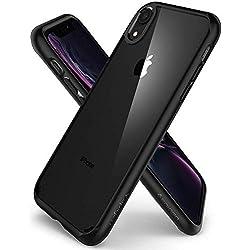 Spigen Coque iPhone XR [Ultra Hybrid] Bumper Renforcé, Protection Coin, Air Cushion, Anti-Choc [Noir] Coque compatible avec iPhone XR