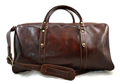 Leder reisetasche ledertasche sporttasche herren damen schultertasche umhängetasche raumbeutel made in Italy weekender braun