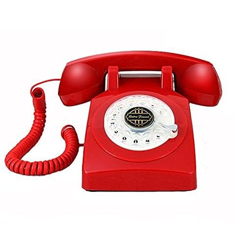 Antikes Festnetztelefon Schnurgebundenes Telefon antiker Stil europäisches Drehrad Metall mechanische Klingeltöne Heimbüro