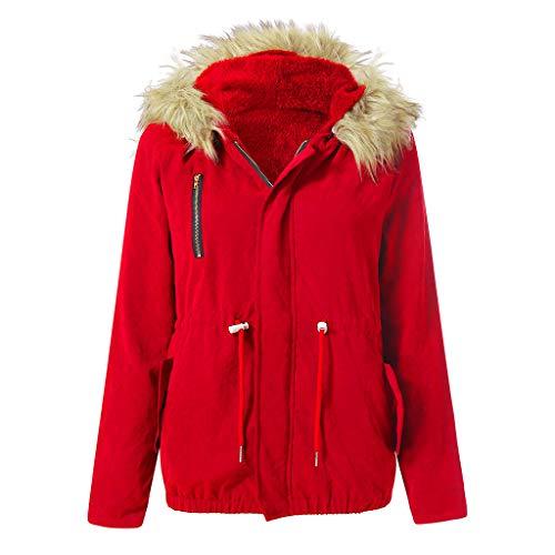 CICIYONER Mit Kapuze Jacke Damen Mode Winter Warm Military Casual Kunstpelz Mantel Outwear