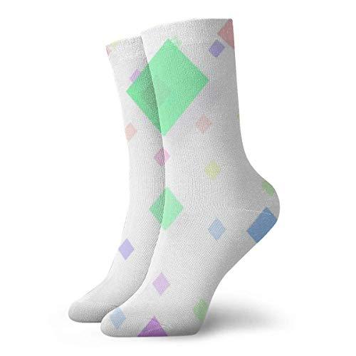 yting Einfacher bunter Diamant Erwachsene atmungsaktive kurze Socken 30 cm Baumwolle klassische Socken für Herren Damen Yoga Wandern Laufen -