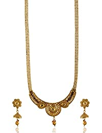 Reeti Fashions - Round Motif Gold Tone Necklace Set With Beaded Chain For Women (RF17_10B_88)