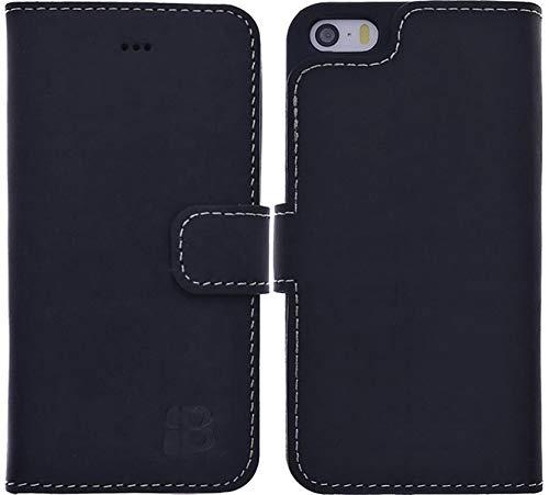 Burkley Hülle kompatibel mit iPhone SE / 5 / 5S - Rindsleder Handyhülle für Apple iPhone SE / 5 / 5S - Handy Wallet Case Cover mit RFID Schutz (Ip5 Wallet)