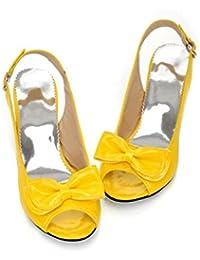 Damen Sandalen/Sommer Fisch Mund Schuhe/Süße Schmetterling Knoten/zurück Schnalle, 5cm, 30-42, Yellow, 35