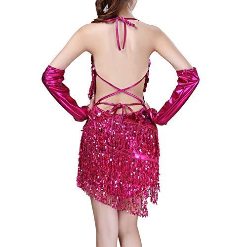 Frauen Sommer Spitze Sexy Pailletten Sling Halter Latin Dance Kleid Quaste Kostüm Tanz Minikleid 2019 - Neueste Kostüm