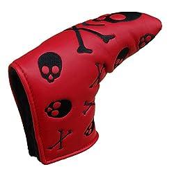 Skull & Cross Bones Design Golf Balde Putter Cover, Ideal For Ping Anser, Scotty Cameron Newport Style Putter (Red)