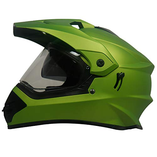 Steelbird Off Road Motocross Helmet with Double Visor Helmet For Men (Large 600 MM, Matt Y.Green aerodynamics enabled)
