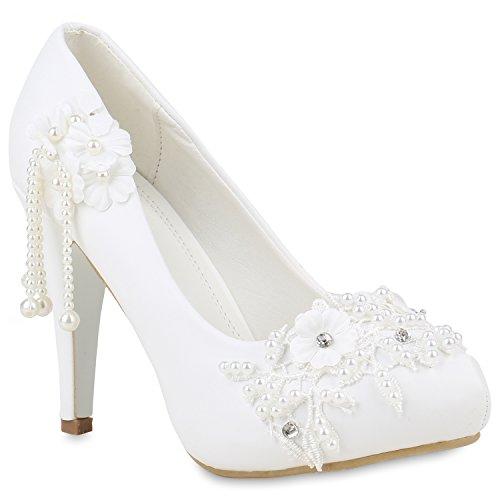 Stiefelparadies Damen Brautschuhe Pumps Plateau Schuhe Hochzeit Party High Heels 153612 Weiss Agueda 37 Flandell