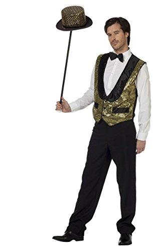 Pailletten-Weste gold zum Show Herren Kostüm Karneval Fasching - Gold Weste Kostüm