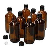 MamboCat - Set di 8 flaconi in miniatura con contagocce I in vetro marrone da 100 ml I piccoli flaconcini da farmacia I salvagoccia I protezione UV