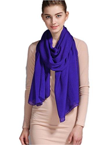Prettystern 180/110 cm xxl sciarpa 100% 100% seta rubato pianura sposa tinta unita colore spiaggia - a22 blu reale