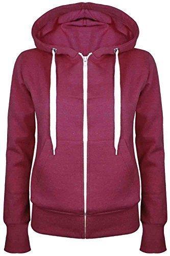 Oops Outlet Damen Einfarbig Kapuzenpulli Mädchen Reißverschluss Top Damen Kapuzenpullis Sweatshirt Mantel Jacke Übergröße 6-24 - Wein, Small / DE 36