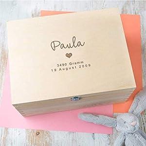 Erinnerungsbox Baby Mädchen personalisiert, Geschenk für Taufe Mädchen, Patenkind Geschenk, Babys erstes Weihnachten