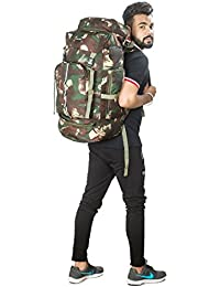Indian Riders Lightweight Travel Hiking Rucksack Bag Olive Green in forest print- 50 L