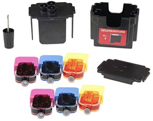 EASY-REFILL Nachfüllset für HP 62 color (XL) Tinten-Patronen - Befülladapter + 2 Füllungen je Farbe. Druckerpatronen ganz einfach und schnell selbst befüllen! Mit Video-Befüllanleitung in Youtube - Easy-refill-kit