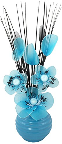 Flourish 705855 813 Blue Vase With Teal Blue Nylon Artificial Flowers In  Vase, Fake Flowers, Ornaments, Small Gift, Home Accessories, 32cm