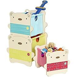 Hello Home WORL230013 Cajas de Almacenamiento apilables con diseño de Abrazo de Oso, Madera, Blanco, 39.00x34.00x31.00 cm