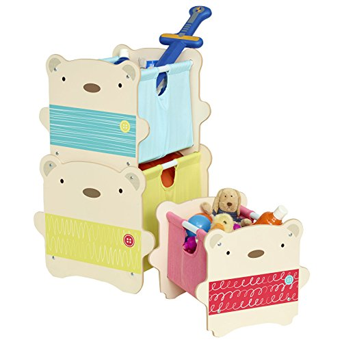 Hello Home 518SNG - Cajas de almacenamiento apilables con diseño de Abrazo de Oso, color blanco