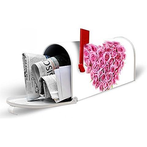 banjado Blanco–US Mailbox 17cm x 22cm x 51cm Buzón con diseño Rose Corazón Americanos
