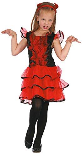 Teufelin Kostüm Kinder Halloween mit Haarreifen - Teufel Kostüm für Mädchen rot-schwarz (Kostüme Teufel Rote Kinder)