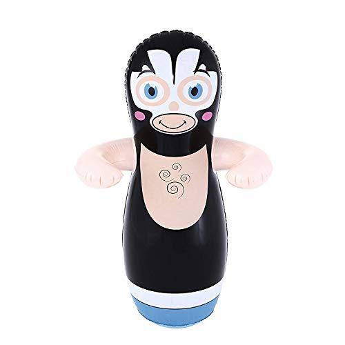 MovilCom® - Tentempié Inflable Figura Animales niños Hinchable tentetieso Interior Juguete Luchador Negro 91cm