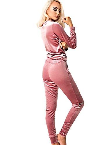 Women's Ladies Stunning Velvet Classic Comfy Joggers Set Rose