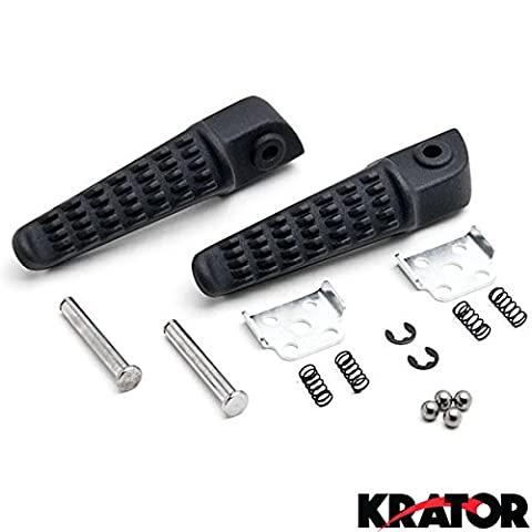 Krator® Black Rear Foot Rest Pegs for Kawasaki Ninja ZX-10R ZX12R ZX-9R ZX-6R ZX636 Z750 Black Motorcycle Foot Pegs Footrests Left & Right by Krator