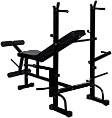 Bodyfit 8 In 1 (Incline/ Decline/ Flat/ Leg Curl/ Leg Extension/ Chest Fly/ Dips/ Push Ups) Multipurpose Bench