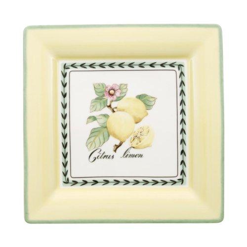 Villeroy & Boch French Garden Macon Assiette petit-déjeuner carrée, 21 cm, Porcelaine Premium, Blanc/Multicolore