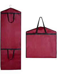 """SPARKSOR 71"""" Red Breathable Weddling Gown Gress Clothes Covers Carrier Bag with Handles for Travel,Foldover Breathable Garment Bag with Handles and Gusset,60cm*180cm"""